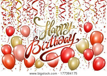 Happy Birthday Typography Vector Design For Greeting Cards And Poster With Red Balloon, Confetti, De