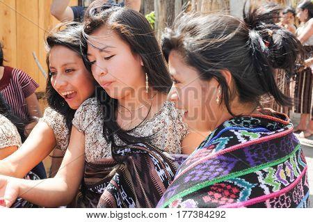 San Juan la laguna, Guatemala - 12 February 2014: young maya woman on the street of San Juan la laguna on Guatemala