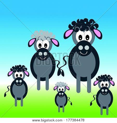 Donkey family on meadow. Vector illustratio. Eps10.