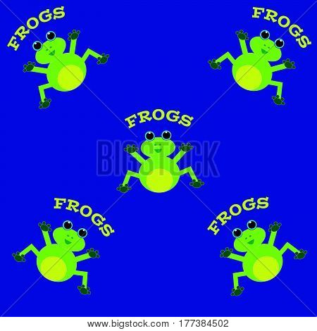 Frogs on blue background. Vector illustration. Eps 10.