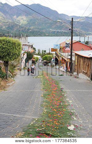 San Juan la laguna, Guatemala - 12 February 2014: Decored street at San Juan on lake Atitlan on Guatemala