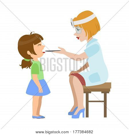 Therapist Checking Throat Of A Little Girl, Part Of Kids Taking Health Exam Series Of Illustrations. Child On Appointment With A Doctor Going Through Medical Checkup.