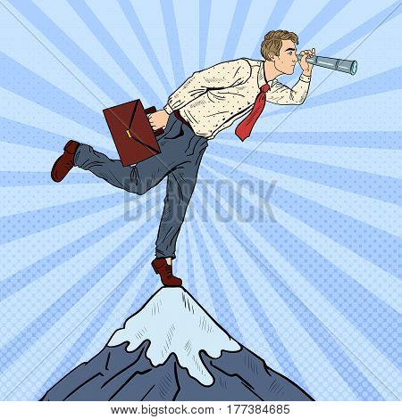 Pop Art Businessman with Telescope on the Top of the Mountain. Business Vision. Vector illustration