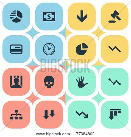 Vector Illustration Set Of Simple Impasse Icons. Elements Circular Diagram, Clock, Head Bone And Other Synonyms Relationship, Network And Arm.