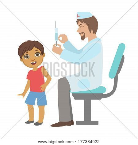 Pediatrician Doing A Vaccination To Little Boy, Part Of Kids Taking Health Exam Series Of Illustrations. Child On Appointment With A Doctor Going Through Medical Checkup.