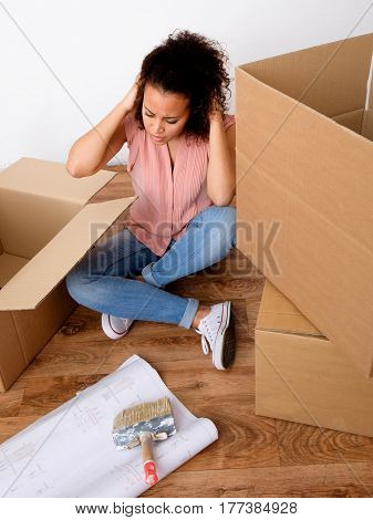 Desperate And Tired Woman During Relocation