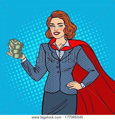 Pop Art Super Businesswoman in Red Cape with Money. Business Success. Vector illustration