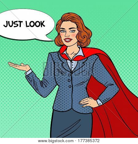 Pop Art Smiling Super Businesswoman in Red Cape Pointing on Copy Space. Presentation. Vector illustration