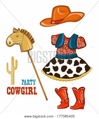 Cowgirl clothes for party birthday isolated on white for design