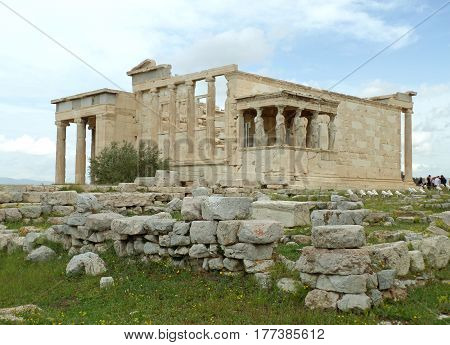 The Erechtheion, an Ancient Ionic Temple on the Acropolis of Athens, Greece