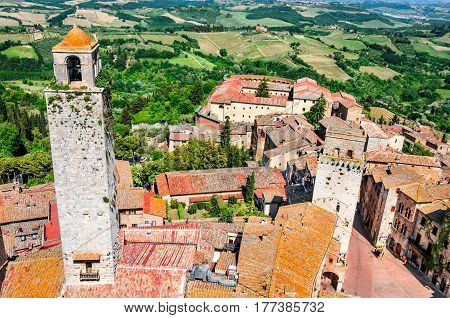 San Gimignano Tuscany. Piazza della Cisterna in small walled medieval hill town in the province of Siena Tuscany north-central Italy.