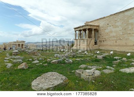 The Erechtheum or the Erechtheion of Acropolis in Athens, Greece