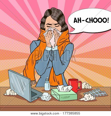 Pop Art Business Woman Sneezing. Girl with Flu at Work. Vector illustration