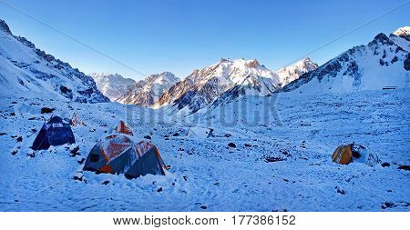 Beautiful Mountain Landscape In The Himalayas With High Camp At Sunrise