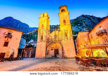 Kotor Montenegro - Cathedral of Saint Tryphon in night with Lovcen mountains in background.