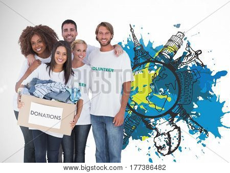 Digital composite of VGroup of Volunteers for Donation against painting world map against white background