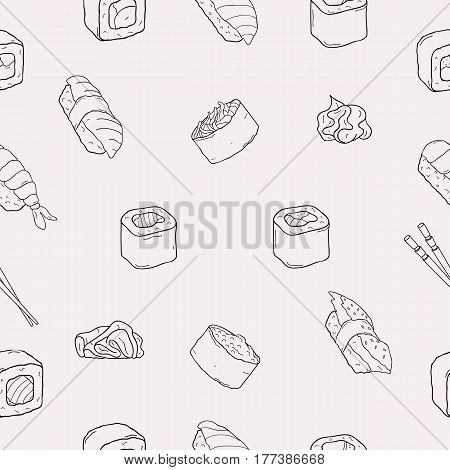 Japanese seafood sushi rolls seamless pattern. Traditional food. Nori, temaki, nigiri, futomaki. Black and white