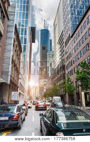 FRANKFURT AM MAIN GERMANY - MAY 18 2016: Rush hours in Frankfurt am Main city. Frankfurt am Main is dynamic and international financial and trade city with the most imposing skyline in Germany.