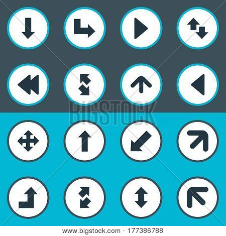 Vector Illustration Set Of Simple Indicator Icons. Elements Downwards Pointing, Increasing, Raise-Fall And Other Synonyms Downwards, Down And Slanted.