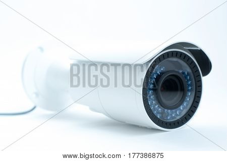 Surveillance Camera Isolated On White Background, With Clipping Paths