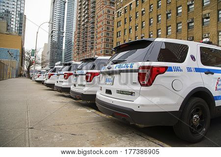 New York City, USA, December 31 2016: A line-up of New York Police Department vehicles, New York City, USA