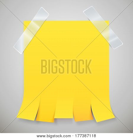 Blank yellow advertisement with tear off tabs and adhesive tape. Ad concept. Vector illustration