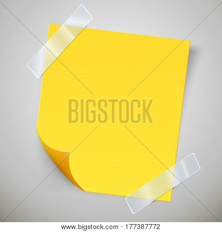 Yellow sticky note with the curled corner and adhesive tape. Vector illustration