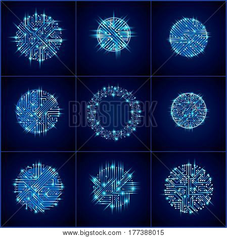 Vector Sparkling Circuit Board Circles, Digital Technologies Abstractions. Blue Shine Computer Micro