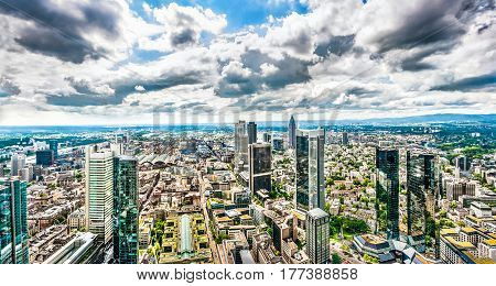 Panoramic View Of Frankfurt Am Main Skyline With Dramatic Cloudscape, Hessen, Germany
