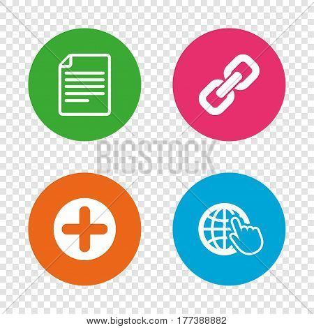 Plus add circle and hyperlink chain icons. Document file and globe with hand pointer sign symbols. Round buttons on transparent background. Vector