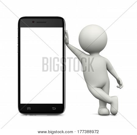 3D Character Leaned On A Blank Display Smartphone