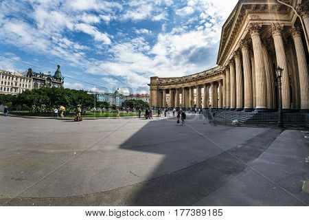 Majestic Colonnade Of The Kazan Cathedral Photographed Fisheye