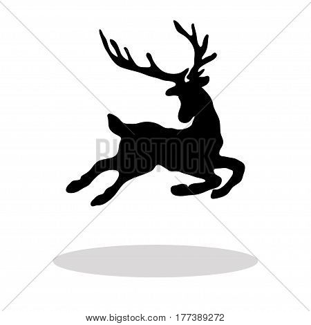 Black silhouette Christmas Reindeer white background. Vector illustration