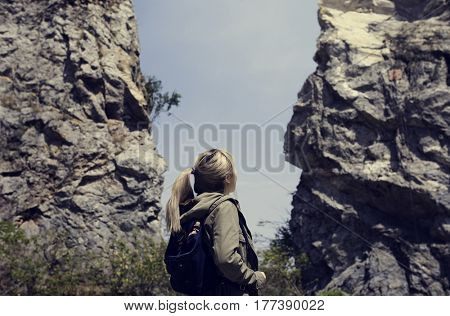 Young woman solo trip travel sightseeing