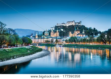 Salzburg Cityscape With Salzach River At Blue Hour, Salzburger Land, Austria