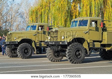 Dnipro Ukraine - October 29 2013: Soviet off-road truck KrAZ 6x6 for extreme operations the armed forces of Ukraine at the parade