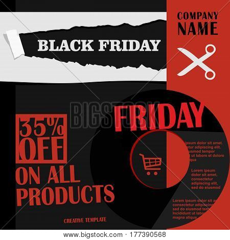 Black Friday, Big Sale, Creative Template On Flat Design