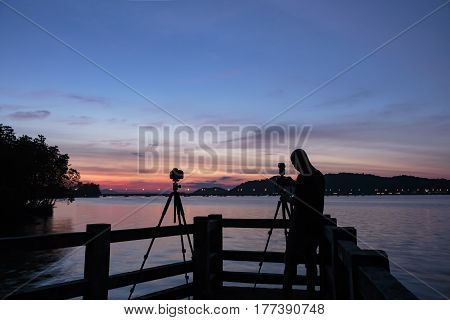silhouette photographer Nature and sunset songkhla thailand