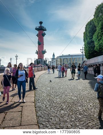 Rostral Column In Saint Petersburg, Russia
