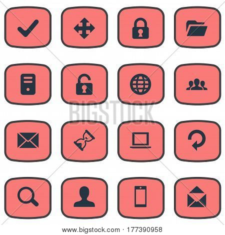 Vector Illustration Set Of Simple Apps Icons. Elements Sand Timer, Web, Community Synonyms Human, Enlarge And Check.