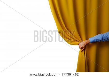 hand open yellow curtain isolated on white
