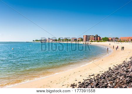 Beautiful beach landscape on the island of Foehr the second-largest German North Sea island and a popular destination for tourists in Schleswig-Holstein North Sea Germany