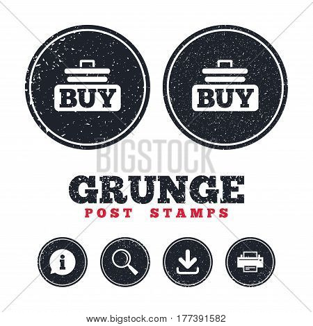 Grunge post stamps. Buy sign icon. Online buying cart button. Information, download and printer signs. Aged texture web buttons. Vector