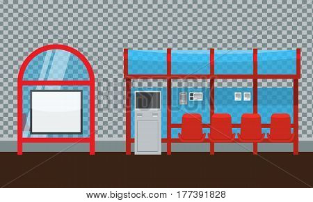 Bus stop with seats and payment kiosk. Front and side view. Flat and solid color Vector illustration.