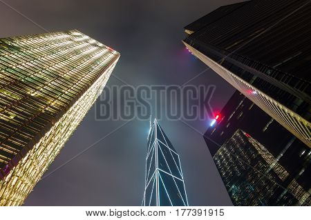 Night Cityscape With Skyscrapers In Hong Kong