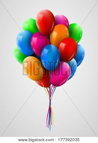 3d Realistic Colorful Bunch of Flying Birthday Balloons. Party and Celebration concept. Vector Illustration.