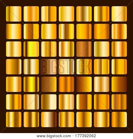 Collection metallic and golden gradient illustration. Set gold gradients. Golden squares collection. Golden background texture.