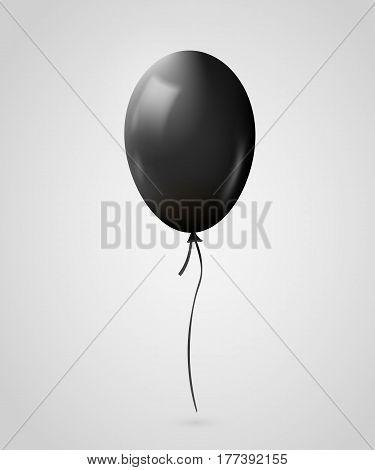 Realistic black balloon isolated on gray. Vector illustration