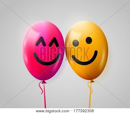Pair of happy balloons in love. Valentines day concept. Vector illustration
