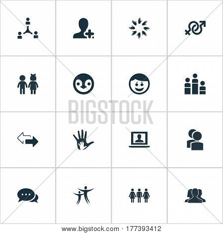 Vector Illustration Set Of Simple Mates Icons. Elements Cooperation, Add Friend, Unity And Other Synonyms Group, Mates And Camaraderie.
